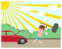Angry woman smashing red car hammer royalty free illustration