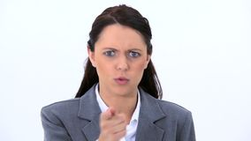 Angry woman standing upright stock video footage