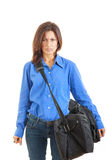Angry woman with suitcase hate going on business travel Royalty Free Stock Image