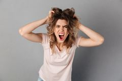 Angry woman in t-shirt screaming and holding her hair. While looking at the camera over grey background Royalty Free Stock Photography