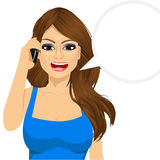 Angry woman talking on mobile phone Stock Photo