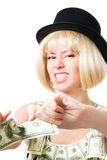 Angry woman tear dollar apart Royalty Free Stock Image