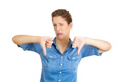 Angry woman, thumbs down Stock Photography