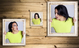 Angry woman trapped in frames. Royalty Free Stock Images