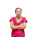Angry woman on white background stock photo