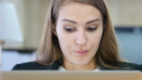 Angry Woman Working on Laptop in Office. Designer , young man , handsome stock footage
