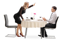 Angry woman yelling at her boyfriend Royalty Free Stock Images