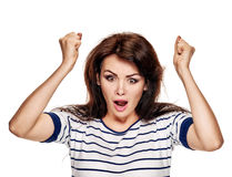 Angry woman yelling Stock Images