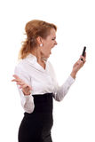 Angry Woman Yells At Cell Phone. Isolated on a White Background Stock Photo