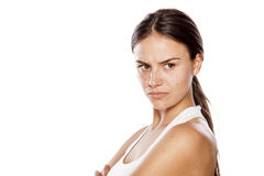 Angry woman. Angry young woman without make-up royalty free stock photography