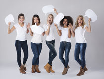 Angry women. Extreme emotion of young women Royalty Free Stock Photography