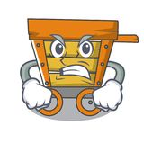 Angry wooden trolley mascot cartoon. Vector illustration stock illustration