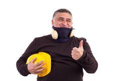 Angry worker pointing at something and screaming. White background Royalty Free Stock Photo