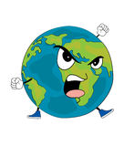 Angry World globe cartoon Royalty Free Stock Photo