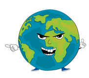 Angry World globe cartoon Royalty Free Stock Images