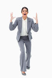 Angry yelling businesswoman Stock Image
