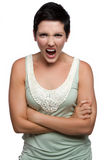 Angry Yelling Woman Stock Photo