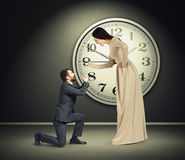 Angry yelling woman and crying man Royalty Free Stock Photography