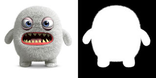 Angry yeti. 3d cartoon cute furry monster holding placard Royalty Free Stock Images