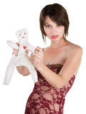 Angry Lady with Voodoo Doll Royalty Free Stock Image