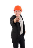 Angry young architect snarling and pointing Royalty Free Stock Photo