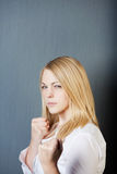 Angry Young Blond Woman Royalty Free Stock Photos
