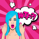 Angry young blue hair girl pop art Stock Images