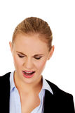 Angry young business woman screaming Royalty Free Stock Photos