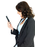 Angry Young Business Woman Screaming Down a Telephone. A DSLR royalty free image, of an attractive young business woman, holding a telephone screaming down it Stock Images