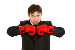 Angry young businessman with boxing gloves Stock Photo