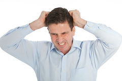 Angry Young Businessman Pulling his Hair. Angry Young Businessman in Light Blue Shirt Pulling his Hair Out While looking at the Camera. Isolated on a White Royalty Free Stock Image