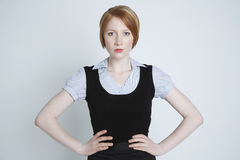 Angry Young Businesswoman Isolated Over White Stock Photos