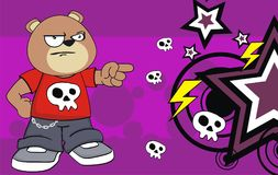 Angry young chubby teddy bear cartoon expression background Stock Photos