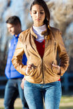 Angry young couple in the park Stock Image