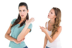 Angry young female friends having an argument Stock Photos
