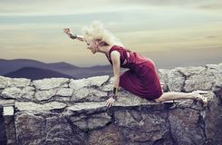 Angry young lady in a nature scenery Royalty Free Stock Photos