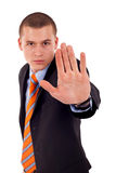 Angry young male saying stop Stock Photo