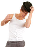 Angry young man in hat Stock Photography