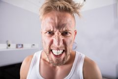 Angry Young Man At Home stock image