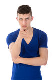 Angry young man pointing a finger towards you Royalty Free Stock Images