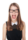 Angry young teenage girl screaming isolated Royalty Free Stock Image