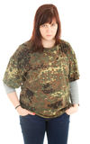 Angry young woman in camouflage shirt Royalty Free Stock Photo