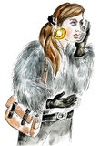 Angry young woman with cellphone. Watercolor illustration Royalty Free Stock Photo