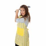 Angry young woman cooking Stock Image