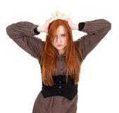 Angry young woman with ears bunny Stock Images