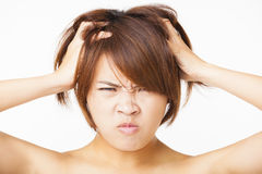 Angry young woman face Stock Photo