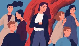 Angry young woman among people not willing to talk to her. Concept of communication problem with unpleasant arrogant. Annoying selfish person. Colorful vector stock illustration