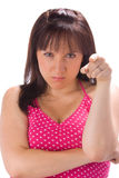 Angry young woman pointing Stock Photography