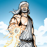 Angry Zeus. Zeus is striking down mortals with a lightning bolt Stock Photos