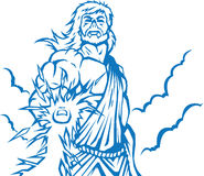 Angry Zeus. Zeus is striking down mortals with a lightning bolt Stock Photo